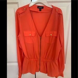BeBe coral peplum blouse